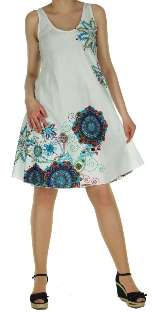 Robe imprimée de couleur blanche Shyna 269692