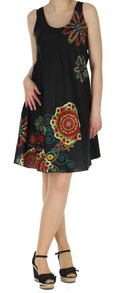 Robe imprimée de couleur noire Shyna 269690