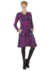 Robe Imprimée et Ethnique à col en V Ramaya Violette 285418