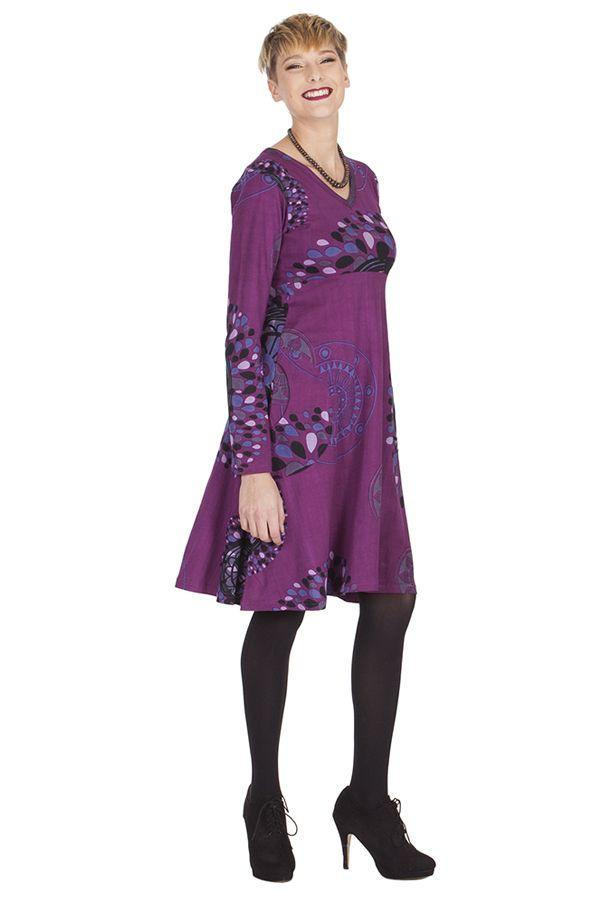 Robe Imprimée et Ethnique à col en V Ramaya Violette 285419