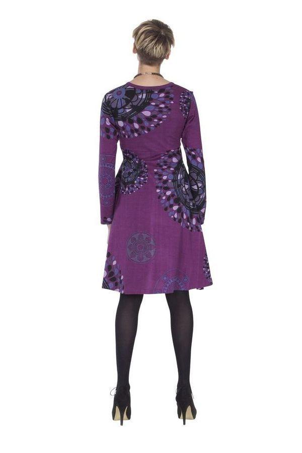 Robe Imprimée et Ethnique à col en V Ramaya Violette 285420