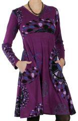 Robe Imprimée et Ethnique à col en V Ramaya Violette 286636