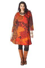 Robe Imprimée et Evasée en Grande taille Crystal Orange 286287