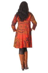 Robe Imprimée et Evasée en Grande taille Crystal Orange 286288