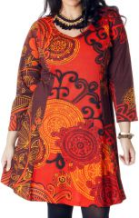 Robe Imprimée et Evasée en Grande taille Crystal Orange 286983