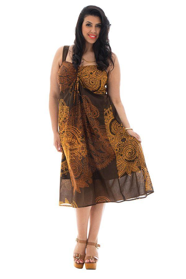 Robe imprimée et smockée pour femme pulpeuse Arion 290551