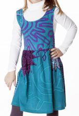 Robe imprimée ethnique pour petite fille de couleur bleu 287412
