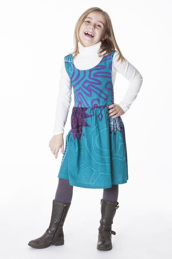 Robe imprimée ethnique pour petite fille de couleur bleu 287413