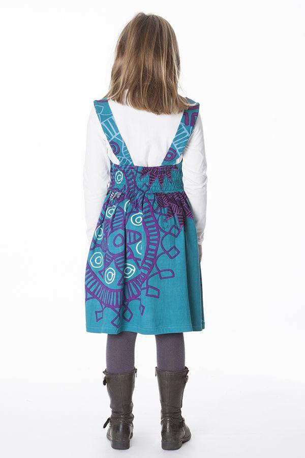 Robe imprimée ethnique pour petite fille de couleur bleu 287414