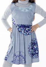 Robe imprimée ethnique pour petite fille de couleur gris clair 287422
