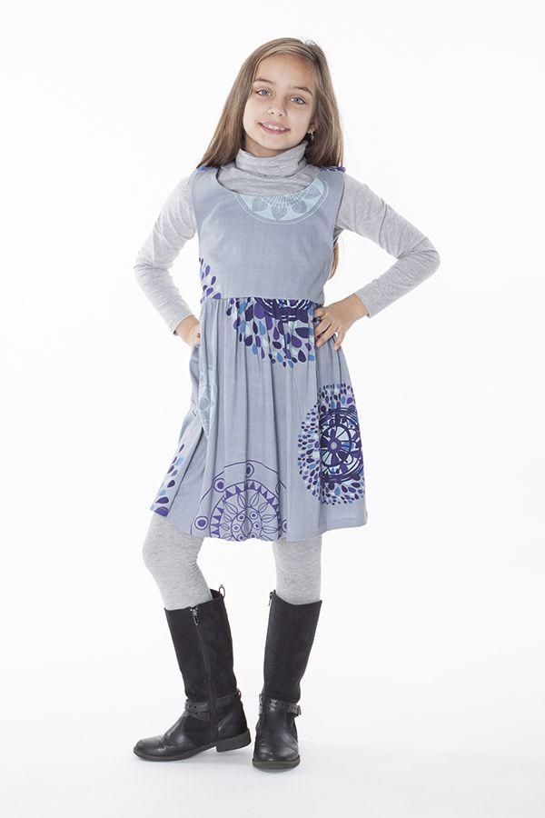 Robe imprimée ethnique pour petite fille de couleur gris clair 287423