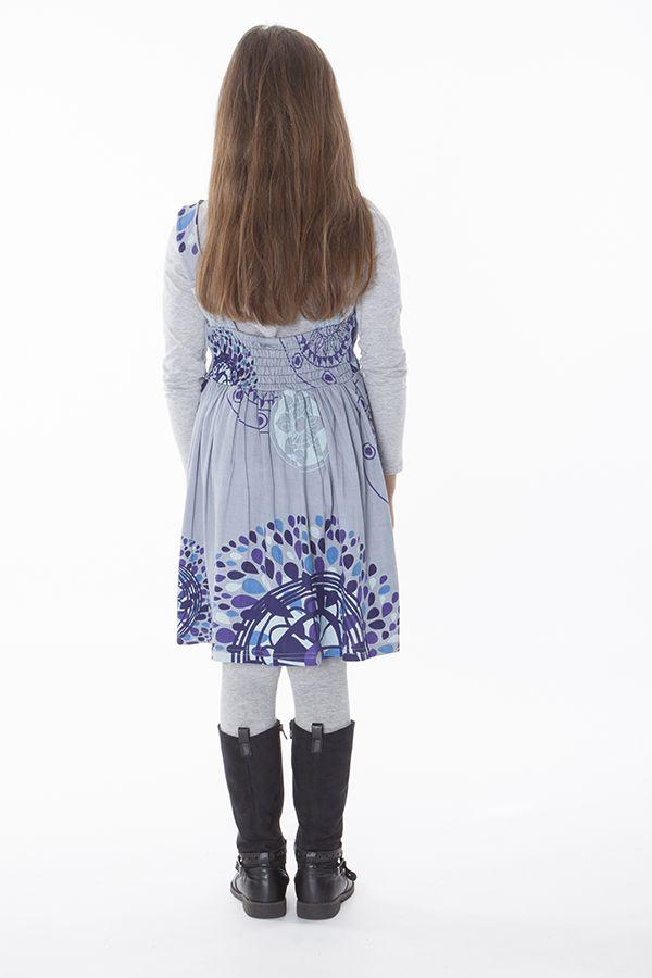 Robe imprimée ethnique pour petite fille de couleur gris clair 287424