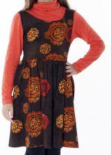 Robe imprimée ethnique pour petite fille de couleur marron 287419