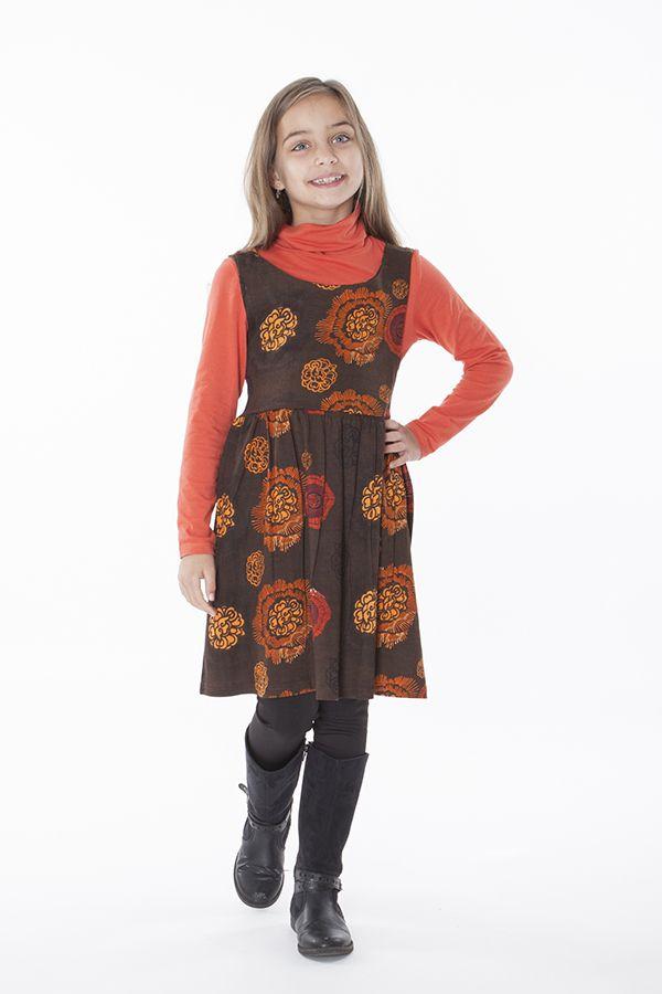 Robe imprimée ethnique pour petite fille de couleur marron 287420