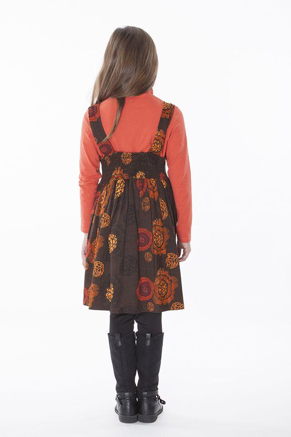 robe imprim e ethnique pour petite fille de couleur marron. Black Bedroom Furniture Sets. Home Design Ideas