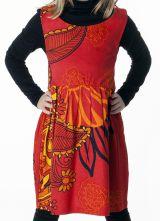 Robe imprimée ethnique pour petite fille de couleur rouge 287408