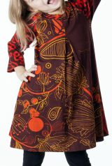 Robe imprimée orange et marron pour fille 287335