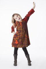 Robe imprimée orange et marron pour fille 287336