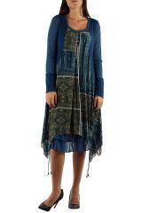Robe imprimée originale de couleur bleue Charlotte 304327