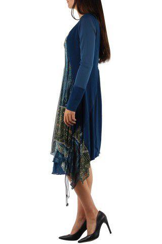 Robe imprimée originale de couleur bleue Charlotte 304328