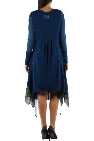 Robe imprimée originale de couleur bleue Charlotte 304329