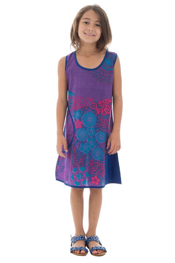Robe Imprimée pour enfant Ethnique et Colorée Alizée Violette 296164