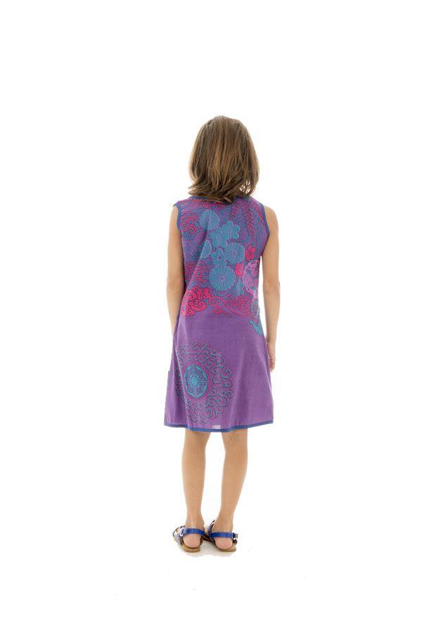 Robe Imprimée pour enfant Ethnique et Colorée Alizée Violette 296165