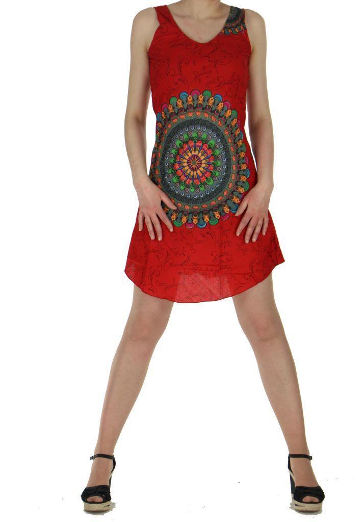 Robe imprimée rosace rouge dina 260634