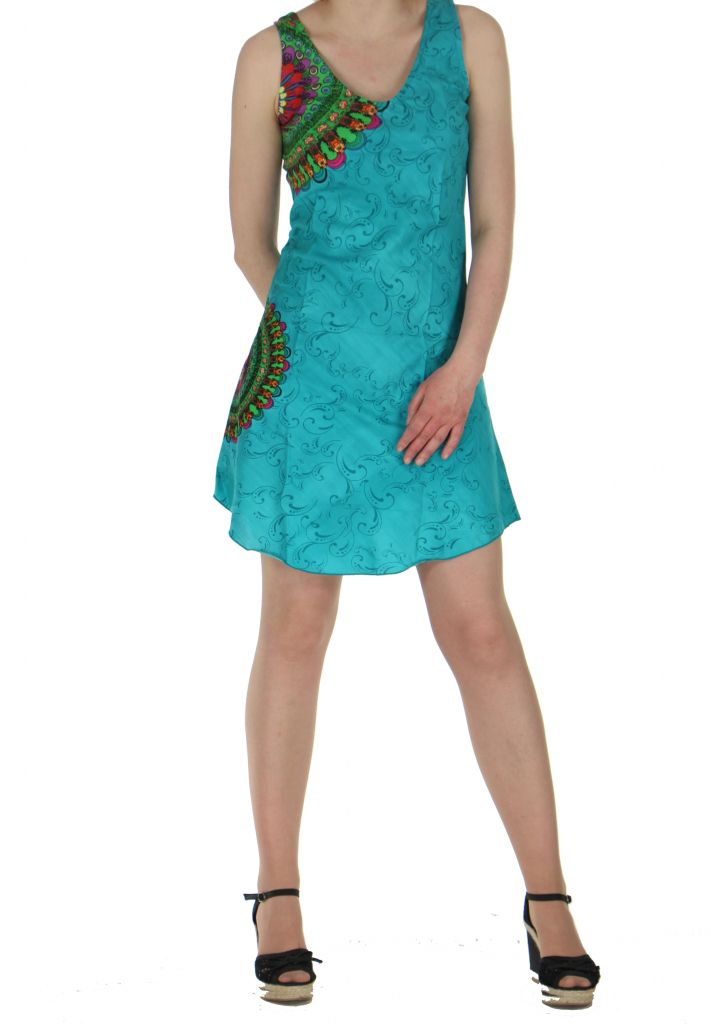 Robe imprimée rosace turquoise dina 260639