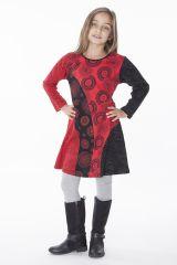 Robe imprimée rosaces noire et rouge pour enfant 286381