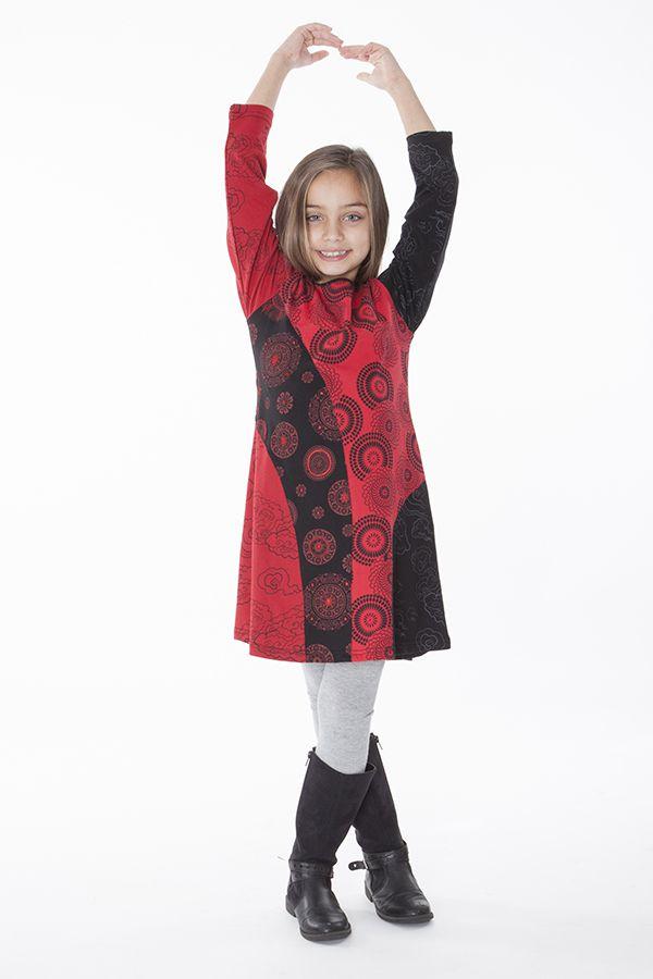Robe imprimée rosaces noire et rouge pour enfant 286382