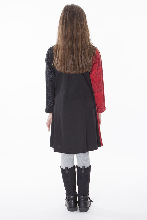 Robe imprimée rosaces noire et rouge pour enfant 286383