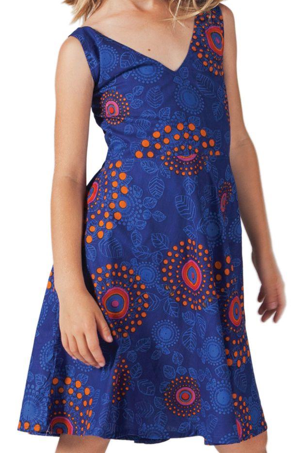 Robe Indigo pour Fille Ethnique et coupe Patineuse Scudy 280591