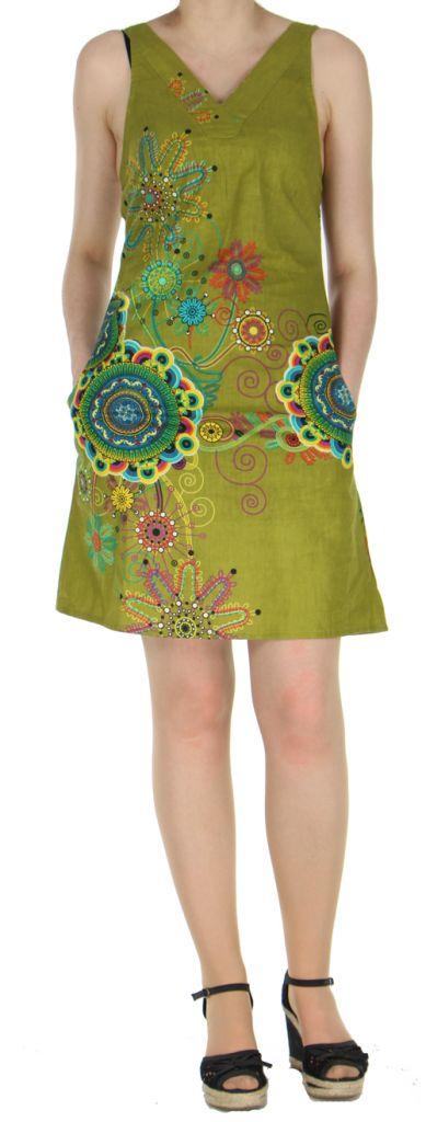 Robe kaki imprimée tendance en coton d'Inde Desik 270494