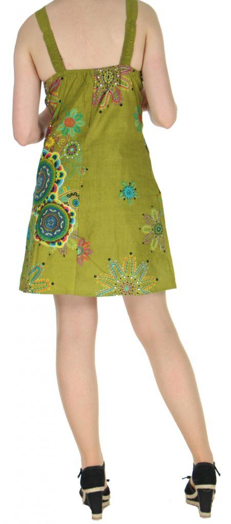 Robe kaki imprimée tendance en coton d\'Inde Desik