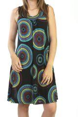 robe légère avec imprimés mandalas tendance et col en V noire Sockna 290915