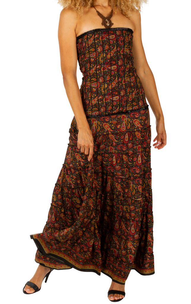 robe longue bustier d contract e et fluide pour l 39 t myriam. Black Bedroom Furniture Sets. Home Design Ideas