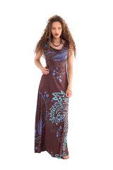 Robe longue à col modulable Marron Originale et Colorée Acacia 282064