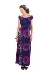 Robe longue à col modulable Originale et Colorée Acacia Indigo 282062