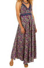 Robe longue à dos nu avec un imprimé baroque coloré Alyssa
