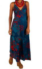 Robe longue à fines bretelles avec un imprimé fleuri bleu Cérémonie 306581