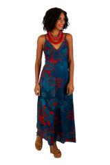Robe longue à fines bretelles avec un imprimé fleuri bleu Cérémonie 306582