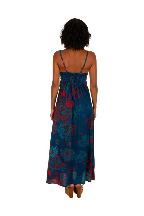 Robe longue à fines bretelles avec un imprimé fleuri bleu Cérémonie 306583