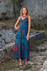 Robe longue à fines bretelles avec un imprimé fleuri bleu Cérémonie 306584