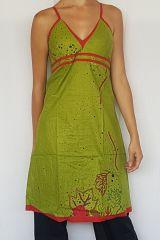 Robe longue à fines bretelles colorée verte et rouge Nouly 302506