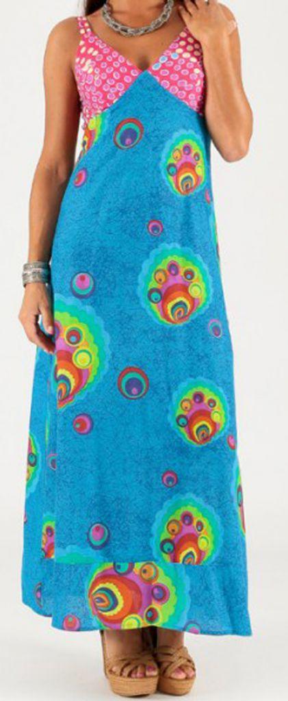 Robe longue à fines bretelles Originale et Colorée Peggy Bleue 279356