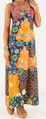Robe longue à fines bretelles Originale et Colorée Peggy Multi 279352