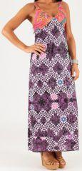 Robe longue à fines bretelles Originale et Colorée Peggy Violette 279350