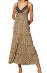 Robe longue à fleurs d\'été pour femme ethnique chic et colorée Rihanna
