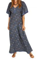 Robe longue à fleurs ethnique et bohème Massaoua bleue 314451